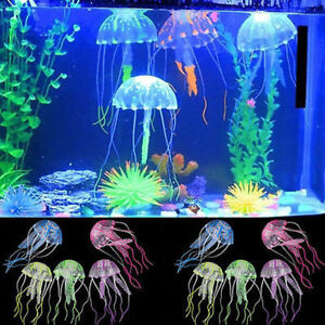 5pcs Artificial Glowing Effect Jellyfish Fish Tank Decoration Aquarium Decor
