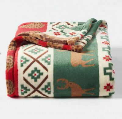 NEW Christmas Holiday Fall Red Fair-isle Throw Blanket Oversize Super Soft 60x72