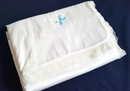 Seide//Flausch Taufe Decke Kuscheldecke weiss Taufdecke zu Taufkleid Baby