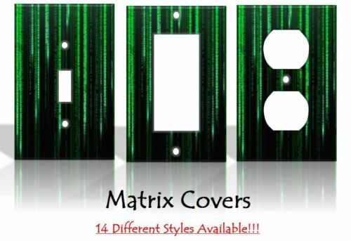 Matrix Green Computer Code Light Switch Covers Home Decor Outlet