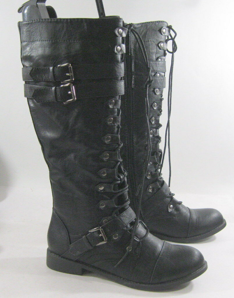 Black Front Lace Up 1  Low Heel Round Toe Sexy KNEE  Boot Size 6