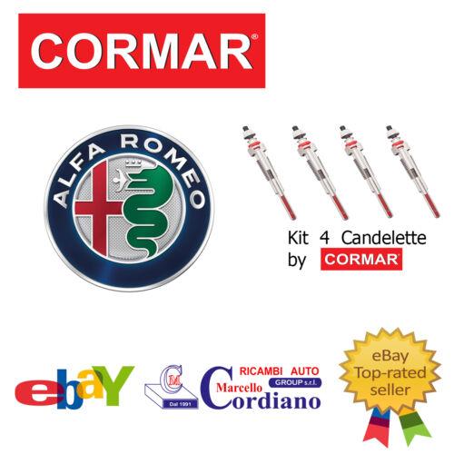 KIT 4 CANDELETTE ALFA 147 1.9 JTDM 16V DA ANNO 2004 CORMAR