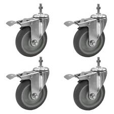 4 Pack 5 Inch Stem Casters Swivel With Brake Grey Pu Caster Wheels