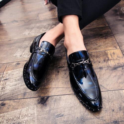 Men Fashion Leather Shoes Slip on Shiny Pointy Toe Nightclub Breathable Non-slip