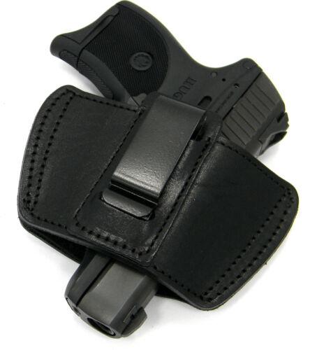 BLACK LEATHER IWB OWB SOB INSIDE OUTSIDE CLIP or BELT HOLSTER ~ Pick Your Gun!