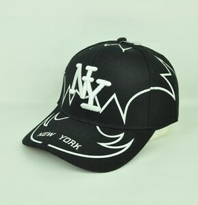 New York City U.S.A NY Adjustable Black White Hat Cap Curved Bill ... 2ff34fb226b