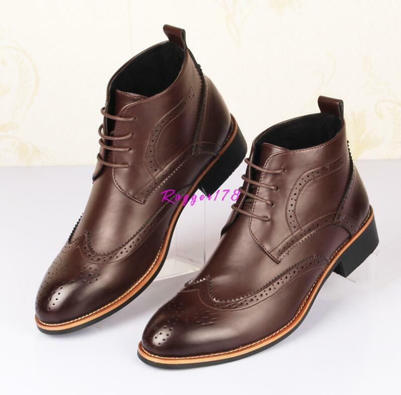 Mens lace up dress formal faux leather shoes oxford Brogue wing tip ankle boots