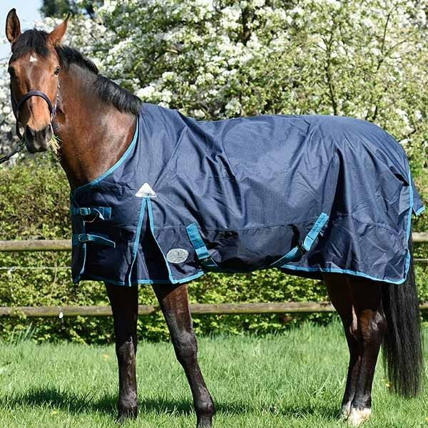Pferdo 24 daselfo Rain Blanket London Fleece 1200 Denier Topline Navy Turquoise Top