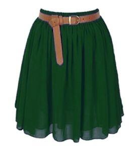 DARKGREEN-Lady-Women-Chiffon-Mini-Skirts-Pleated-Retro-High-Waist-Double-Layer