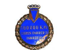 PLACCA AUTOMOBILISTICA DKW Auto Union 100000 km onore conducente U. veicolo circa 1950