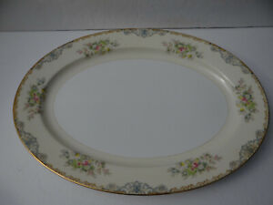"""Meito China Large Oval Platter Made in Japan Hand Painted 16"""" x 12"""" Floral"""