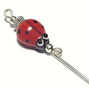 Silver-Red-Ladybird-Ladybug-Hatpin-Glass-Bead-5-034-Strong-Pin-amp-Protector