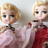 Vintage Japan Pose Dolls Big Eyed Set Of 2 Twins