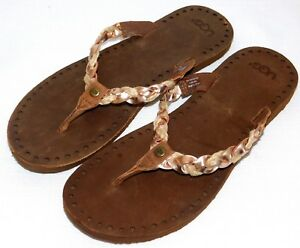 024205b57eb Details about NEW NWOB WOMENS SIZE 9 ROSE GOLD UGG NAVIE SANDALS LEATHER  FLIP FLOPS THONGS