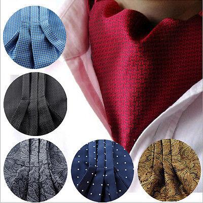 British Style Dot Floral Paisley Cravat Ascot Long Silk Scarves