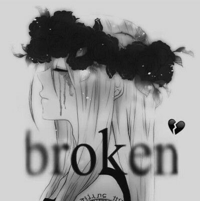 2 Sticker Goth Punk Depression Sad Broken Lonely Girl Black White Anime Style Ebay