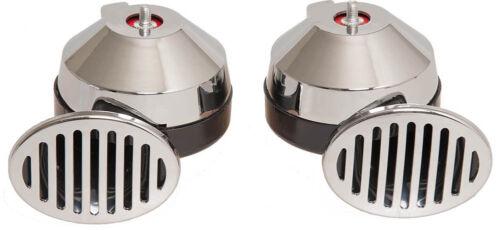 2 KLANG ELEKTROFANFARE CHROM 12V 115 dB 2 TON ELECTRO HORN