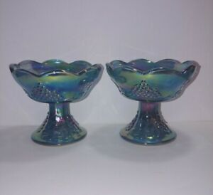 Vintage-Indiana-Glass-Blue-Carnival-Glass-Pair-Candle-Stick-Holder-HARVEST-GRAPE
