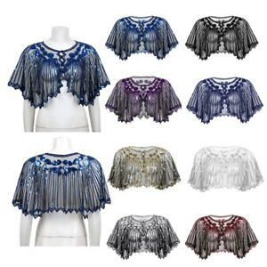Womens-Sequin-Beaded-Shrug-Ladies-Cropped-Bolero-Short-Cardigan-Top-Evening-Cape