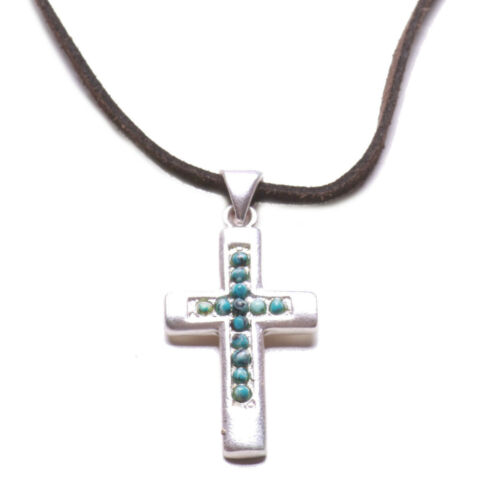 Antique Bronze /& Blue Stone Cross Pendant Necklace Traditional  Brown Zx90//185