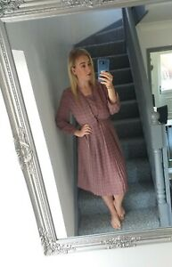 WOMENS-FITME-PLUM-VTG-RETRO-CHECKED-ABSTRACT-90-039-S-FLOWY-TEA-DRESS-UK-M