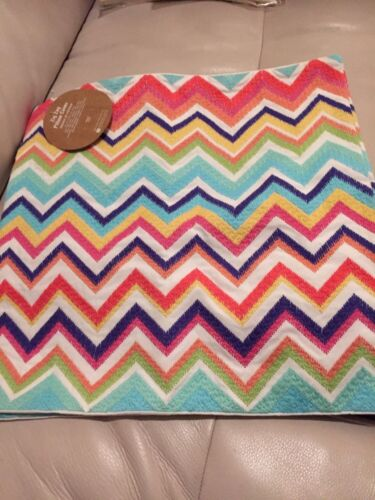 "1 Pottery Barn PB Teen Zig Zag Chevron ow Cover Pink Green Blue 18"" Square"