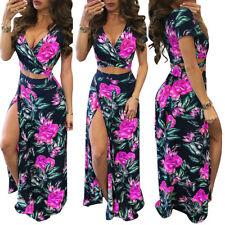 f2b8b20f2d item 2 Summer Beach Women Floral Party Dress Maxi Long Skirt Crop Top Two Piece  Set -Summer Beach Women Floral Party Dress Maxi Long Skirt Crop Top Two ...