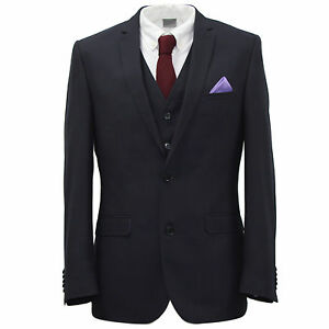 men s harry brown 3 piece 2 button navy slim fit suit 36 to 50