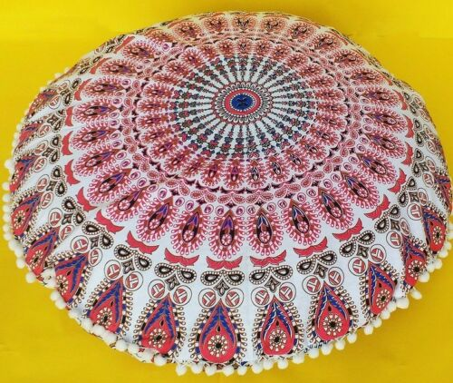 "34/"" Indian Mandala Round Floor Cushion Cover Yoga Pillow Boho Decor Meditation"