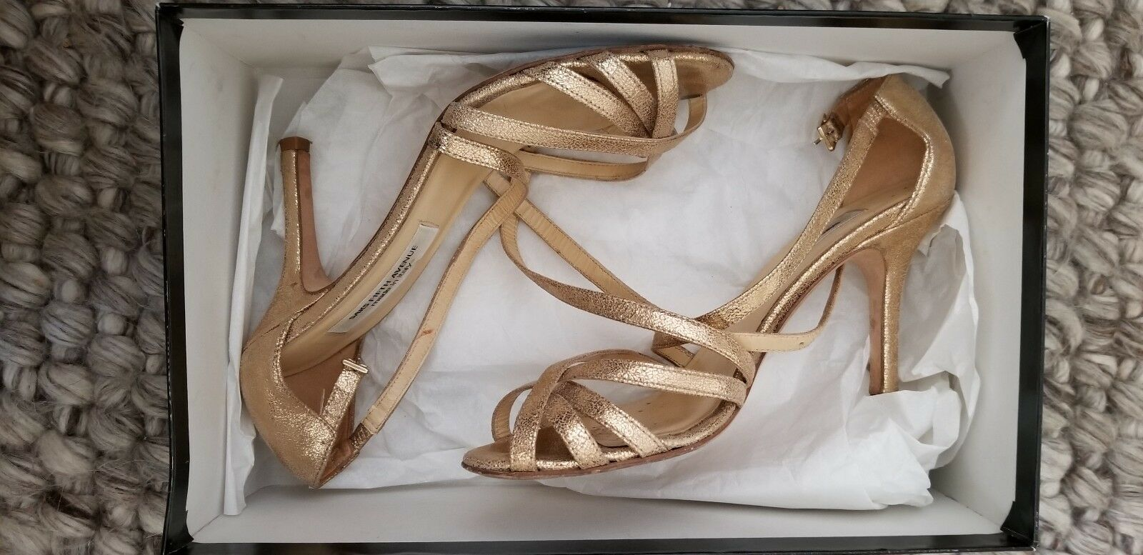 Saks Fifth Avenue Sabrina oro Crinkle Suede- Made in -Wouomo Dimensione 6M