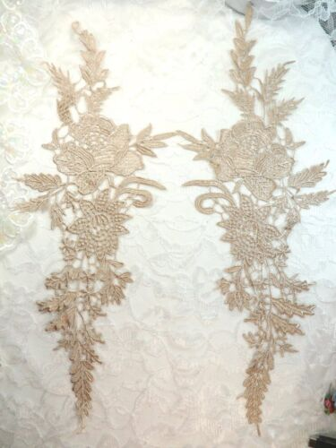 """DH83 Embroidered Applique Champagne Romantic Floral Venice Lace Mirror Pair 16/"""""""