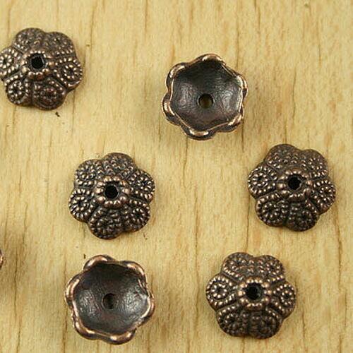 40pcs  copper-tone flower spacer bead caps h2179