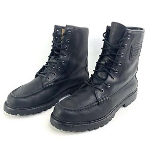 polo ralph lauren mens 9 black leather flaxby ii boots