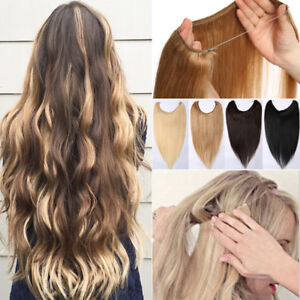 One-Piece-THICK-Secret-Wire-No-Clip-In-100-Remy-Human-Hair-Extensions-Real-J804