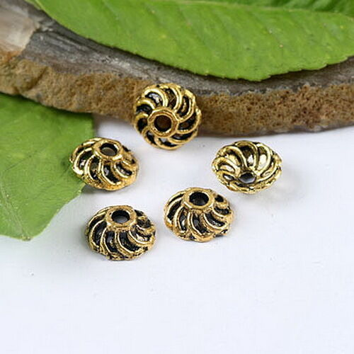 100pcs dark gold-tone flower dotted beads caps h1357