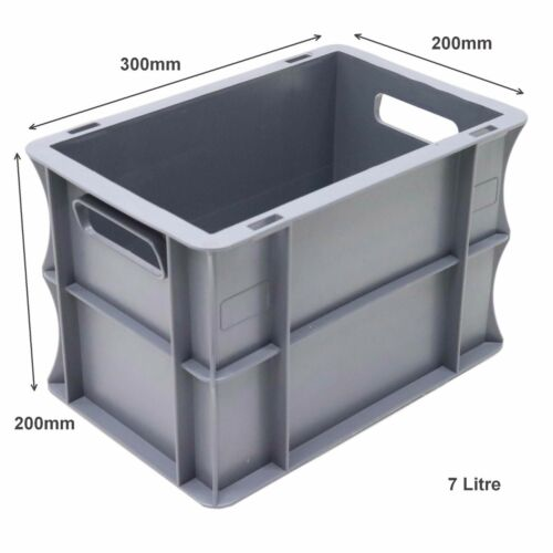 NEW 10 x 7 Litre Strong Grey Plastic Parts Storage Container Euro Boxes Box Bins