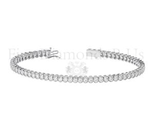 Bezel Set 3.50CT Round Brilliant Cut Diamonds Bracelet Available in Platinum