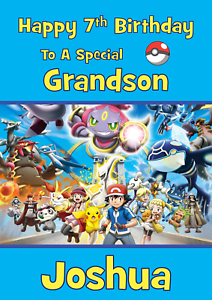 Image Is Loading Pokemon Go Personalised A5 Birthday Card Son Grandson