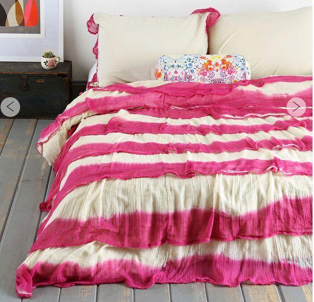 Teenage Retro Red 100% Cotton Ruffles Queen King Doona Duvet Quilt Cover New