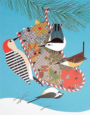 Cert of Auth BACKYARD BIRDS holiday bird art Charlie//Charley Harper