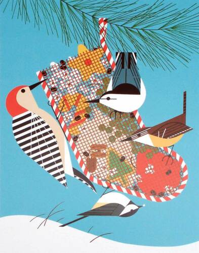 BACKYARD BIRDS holiday bird art Cert of Auth Charlie//Charley Harper