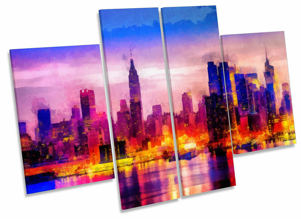 Cityscape Abstract Repro Framed CANVAS PRINT Four Panel Wall Art