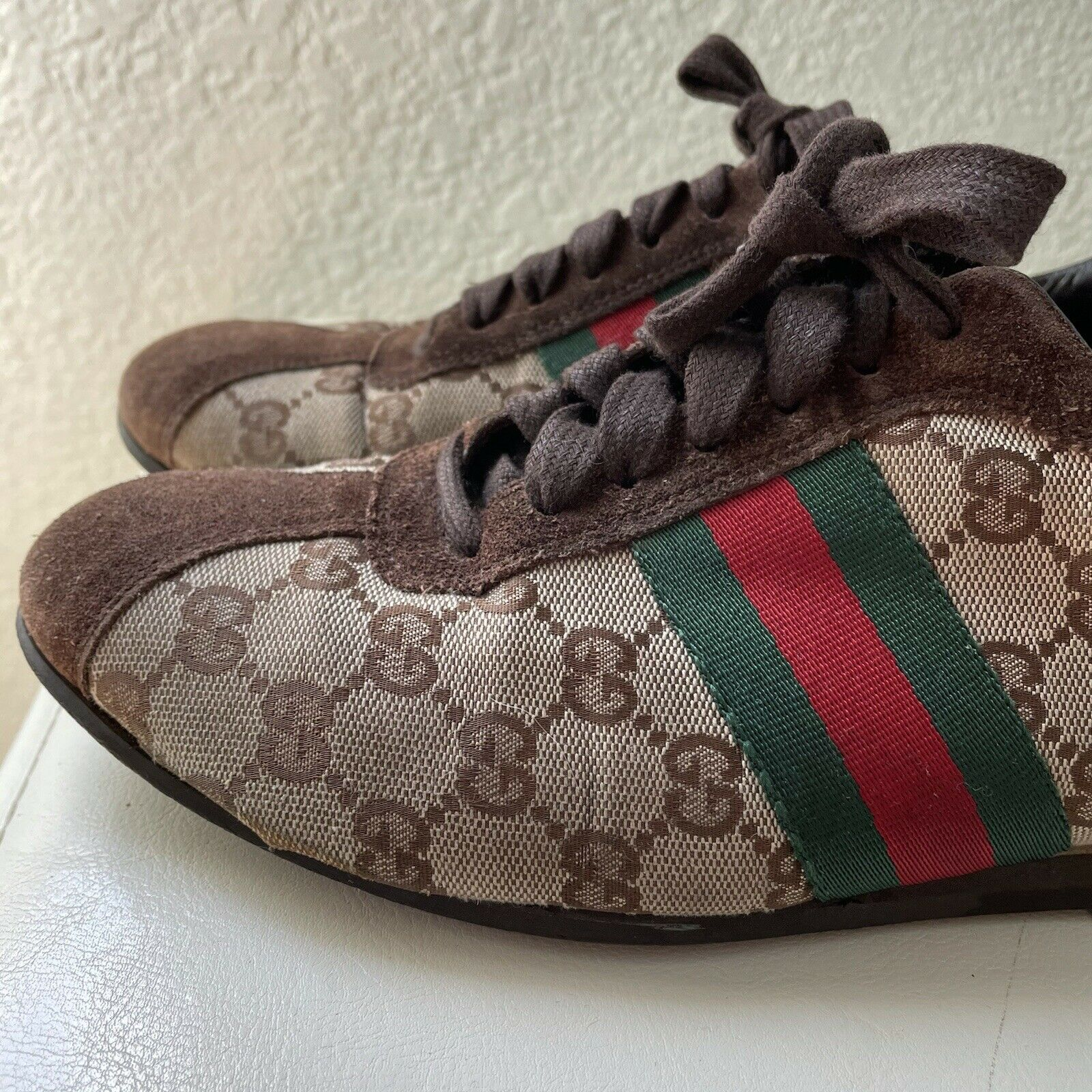 Vintage Classic Brown Green Red Gucci Logo Canvas… - image 9