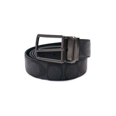 New Coach F64825 Men Modern Harness Cut-To-Size Reversible Belt Black W Gift Box