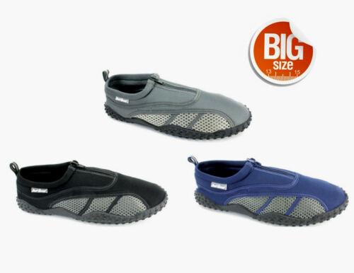 Mens Aqua Shoe Water Shoes Zipper Big Sizes 13 14 Exercise Beach Pool S6131
