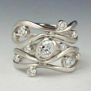 Elegant-Women-925-Silver-Wedding-Rings-Jewelry-White-Sapphire-Rings-Size-6-10-US