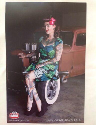 Gearhead 2016 Pinup Girl Poster Custom Car Rockabilly Tattoo Betty Punk Rock Ms