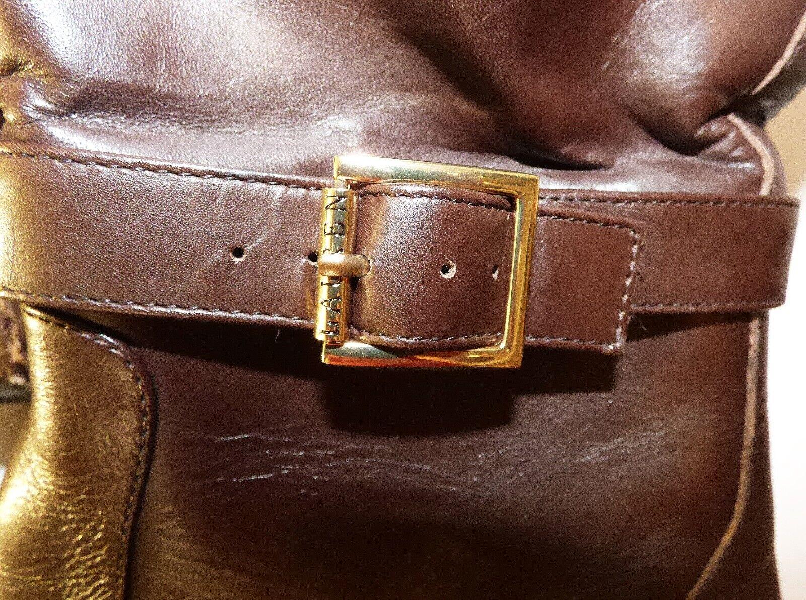 Authentic Ralph Lauren BROWN Pelle Stivali Camelia Knee High High Knee 7.5B 00d12e