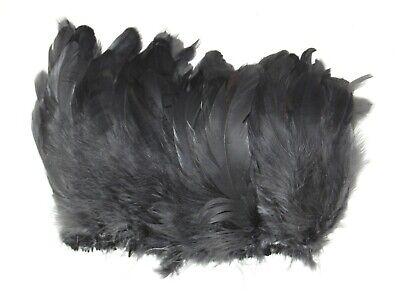 "2 Yards HACKLE FRINGE BLACK 4-6/"" Feathers Trim//Craft//Costume//Halloween"