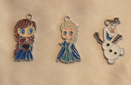 Frozen Metal Enamel Charms Pendants Anna// Elsa// Olaf Party Bag Gifts// Jewellery